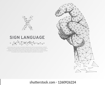 Origami Sign language X letter, low poly model of human hand pointing, showing down. Deaf people silent communication alphabet. Polygonal connection wireframe structure. Vector on white background