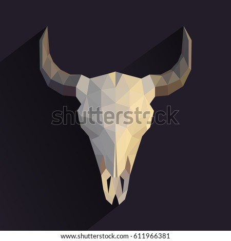 Origami Skull Animal Low Poly Illustration Stock Vector Royalty