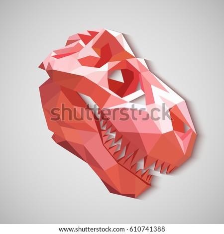 Origami Skull Dinosaur Pink Dinosaur Made Stock Vector Royalty Free