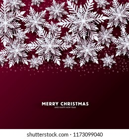 Origami Snowfall. Merry Christmas Greetings card. White Paper cut snow flake. Happy New Year. Winter snowflakes background. Christmas Holidays. Marsala dark red background. Vector