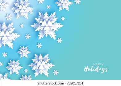 Origami Snowfall. Merry Christmas Greetings card. White Paper cut snow flake. Happy New Year. Winter snowflakes background. Space for text.