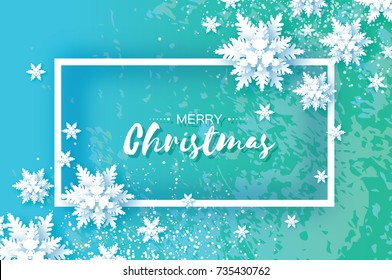 Origami Snowfall. Merry Christmas Greetings card. White Paper cut snow flake. Happy New Year. Winter snowflakes. Rectangle frame. Text. Holidays. Blue background. Texture. Vector