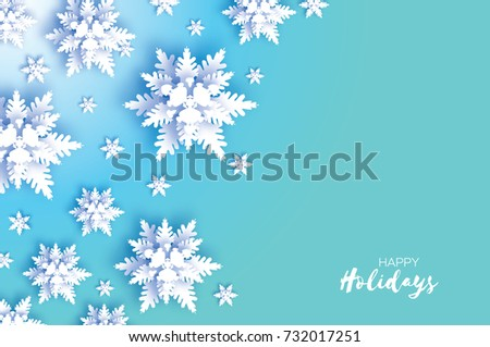 Origami snowfall merry christmas greetings card stock vector merry christmas greetings card white paper cut snow flake happy new m4hsunfo