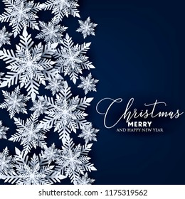 Origami snowflake Merry Christmas and Happy New Year card Snowfall wreath Greetings card White Paper cut snow flake. Winter snowflakes vector 3d gray background Holiday poster