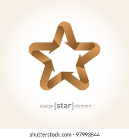 Origami Star with arrows from old paper. Company Logo template
