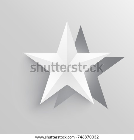 Origami Star Shape Paper Cutout In Light Colors With 3d Style Shadows And Gradients Vector