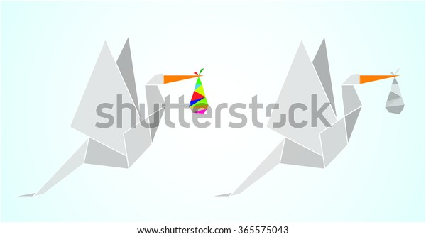 Origami Stork New Born Baby Stock Vector (Royalty Free) 365575043