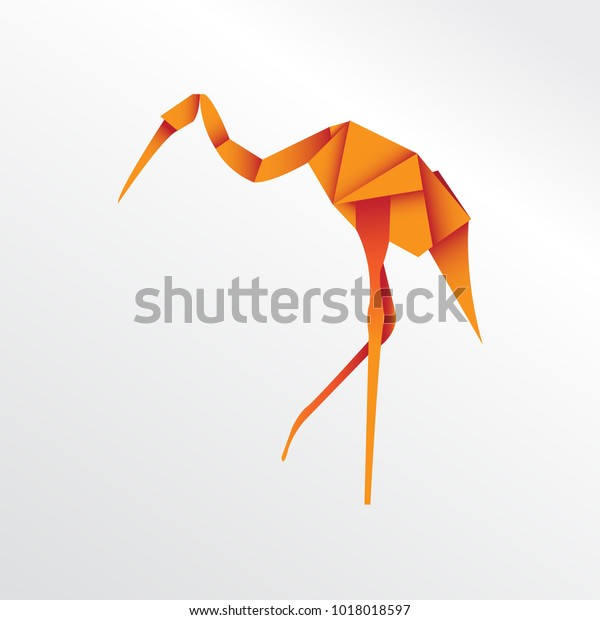 Origami Stork Paper Art Stock Vector (Royalty Free) 1018018597