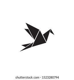 Origami style of bird logo icon design vector template