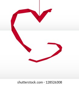 Origami style broken heart graphic element.
