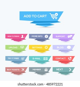 Origami Style Colorful Flat Website Buttons Set