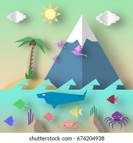 Origami Style Crafted out of Paper with Cut Birds, Whale, Crab, Octopus, Fish, Sun, Sky. Abstract Underwater Life. Template Under the Water Cutout Elements, Symbols. Vector Illustrations Art Design.