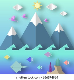 Origami Style Crafted out of Paper with Cut Birds, Mountain, Fish, Sun, Clouds. Abstract Scene Underwater Life. Template Under the Water Cutout Elements, Symbols. Vector Illustrations Art Design.