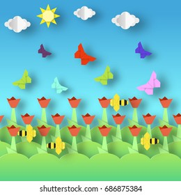 Origami Style Crafted out of Paper with Cut Colorful Flowers, Butterflies, Bee. Abstract Scene Flying Insects. Card with Cutout Elements, Symbols. Spring Landscape. Vector Illustrations Art Design.