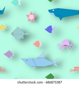 Origami Style Crafted out of Paper with Cut Animals. Abstract Scene Underwater Life. Seamless Pattern: Under the Water Cutout Elements, Symbols for Fabric, Textile. Vector Illustrations Art Design.