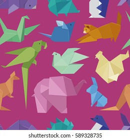 Origami style of different paper animals seamless pattern vector