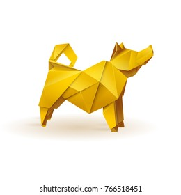 Origami style dog. Gold, shining and stylish. Polygonal logo.