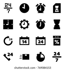Origami style icon set - 24 7 vector, clock, alarm, history, gear, sandclock, around, calendar, sale, phone, fast deliver, stopwatch