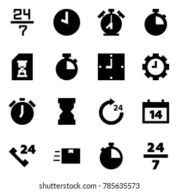 Origami style icon set - 24 7 vector, clock, alarm, stopwatch, history, gear, sandclock, around, calendar, phone, fast deliver