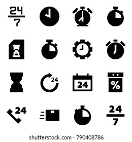 Origami style icon set - 24 7 vector, clock, alarm, stopwatch, history, gear, sandclock, around, calendar, sale, phone, fast deliver