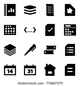 Origami style icon set - annual report vector, data, history, download document, table sheet, code, check, plan, paper, pen, books, calendar, home