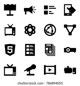 Origami style icon set - billboard vector, advertising, comments, sensitive, tv, network, triangle, html5, list, news, projector, microphone, video, like