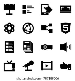 Origami style icon set - billboard vector, comments, sensitive, vhs cassette, network, share, html5, list, news, projector, alarm, tv, microphone, video, like