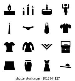 Origami style icon set - candle vector, candles, toastmaster, underpants, dress, blouse, shawl, lady bag, skirt, female hat