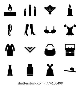 Origami style icon set - candle vector, candles, fan, legs, boots, bra, blouse, bathrobe, shawl, lady bag, female overalls, tulip skirt, dress, hat