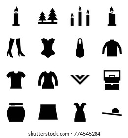 Origami style icon set - candle vector, forest, candles, boots, corset, dress, turtleneck, blouse, shawl, lady bag, skirt, female hat