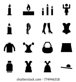 Origami style icon set - candle vector, candles, toastmaster, legs, boots, corset, turtleneck, blouse, lady bag, skirt, tulip, dress, female hat