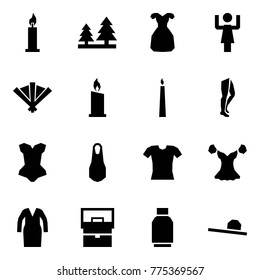 Origami style icon set - candle vector, forest, coctail dress, toastmaster, fan, legs, corset, blouse, bathrobe, lady bag, tulip skirt, female hat
