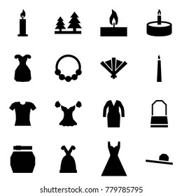 Origami style icon set - candle vector, forest, coctail dress, necklace, fan, blouse, bathrobe, lady bag, skirt, female hat