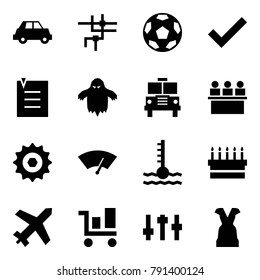 Origami style icon set - car vector, network, soccer, check, list, ghost, school bus, lecture hall, chain gear, wiper, coolant, cake, plane, trolley, settings, dress