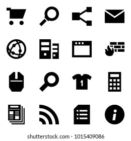 Origami style icon set - cart vector, magnifier, share, mail, network, server, window, firewall, mouse, shirt, calculator, news, rss, document, information