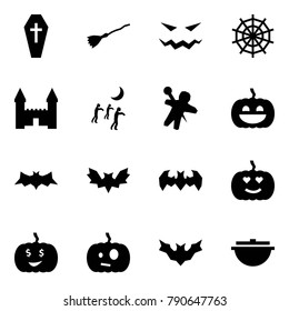 Origami style icon set - coffin vector, broom, scary face, web, mansion, zombie, woodoo doll, pumpkin, bat, cauldron