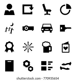 Origami style icon set - consumer vector, reload, chair, diagram, zombie, projector, car, key, medal, fireworks, beer, postcard, cutting board, gear, feedback, shoes