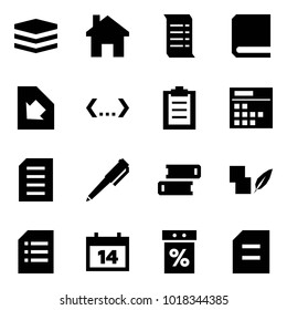 Origami style icon set - data vector, home, history, book, download document, code, clipboard, plan, pen, books, notes, calendar, sale