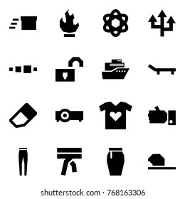 Origami style icon set - delivery vector, fire, network, router, loading, unlocked, cruiser, lounger, eraser, projector, t shirt love, like, pants, scarf, skirt, baseball hat