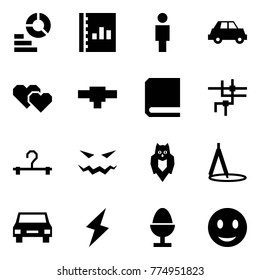 Origami style icon set - diagram vector, annual report, man, car, hearts, connection, book, network, hanger, scary face, owl, drawing compasses, lightning, egg, smile