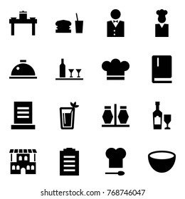 Origami style icon set - dinner table vector, waiter, cook, dish hood, wine, chef cap, menu, phyto bar, salt and pepper, restaurant, bill, kitchen, bowl