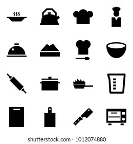 Origami style icon set - eat vector, kettle, cook hat, dish hood, chef cap, kitchen, bowl, rolling pin, pan, fire, measuring cup, cutting board, knife, oven