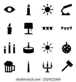 Origami style icon set - eye vector, candle, sun, table lamp, garland, candles, disco, beer, chandelier, meat hammer