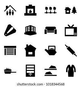 Origami style icon set - family home vector, fireplace, local network, chalet, anti stapler, building, sofa, tv, garage, kettle, rolling pin, fire pan, wardrobe, slippers, bathrobe