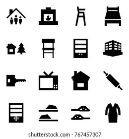Origami style icon set - family home vector, fireplace, baby chair, bed, chalet, bookcase, building, key, tv, rolling pin, wardrobe, slippers, bathrobe