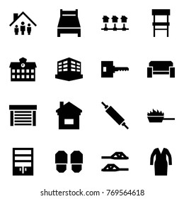 Origami style icon set - family home vector, bed, local network, chair, school, building, key, sofa, garage, rolling pin, fire pan, wardrobe, slippers, bathrobe