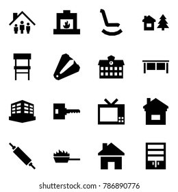 Origami style icon set - family home vector, fireplace, rocking chair, chalet, anti stapler, school, desk, building, key, tv, rolling pin, fire pan, house, wardrobe