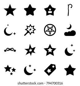 Origami style icon set - favorites vector, favorite, best, crook, moon, wand, pentagram, cloud, chain, bang, star, night, stars, label