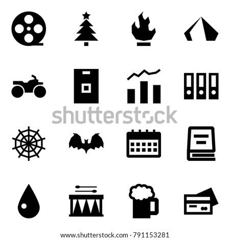 Origami Style Icon Set Film Coil Stock Vector Royalty Free