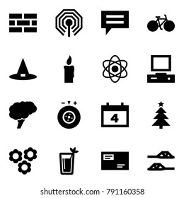 Origami style icon set - firewall vector, wireless, chat, bike, witch hat, candle, atom, pc, brain, tyre balance, calendar, chrismas, flowers, phyto bar, envelope, slippers